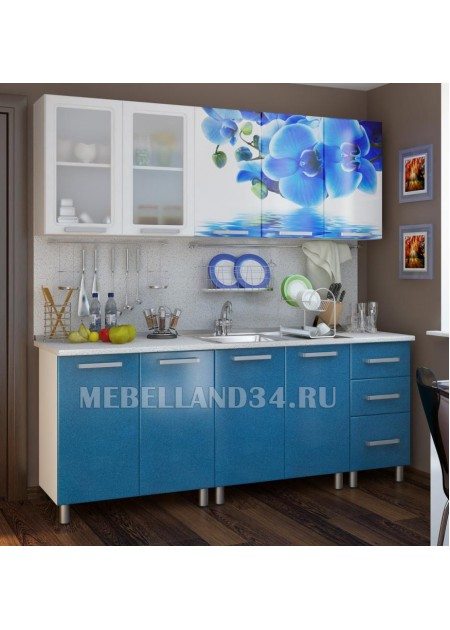 Кухоный гарнитур 2.0 м. Люкс лазурь  мдф