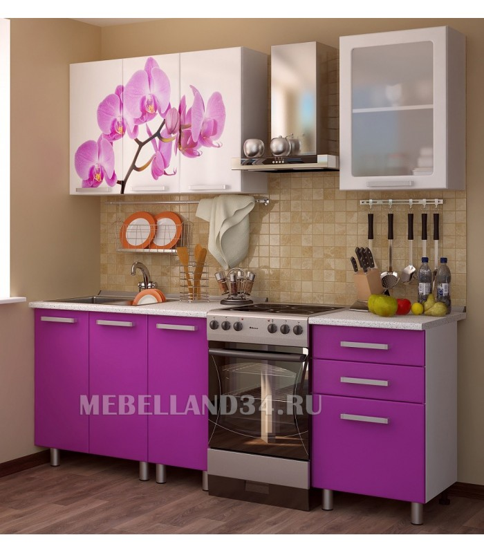 Кухонный гарнитур Орхидея 1.6м мдф