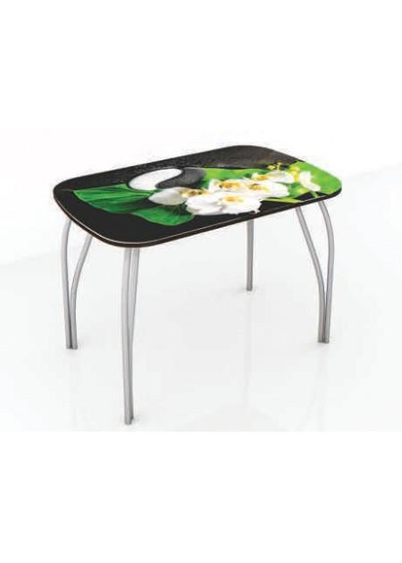 Обеденный стол «Лотос»  стекло инь-янь / венге