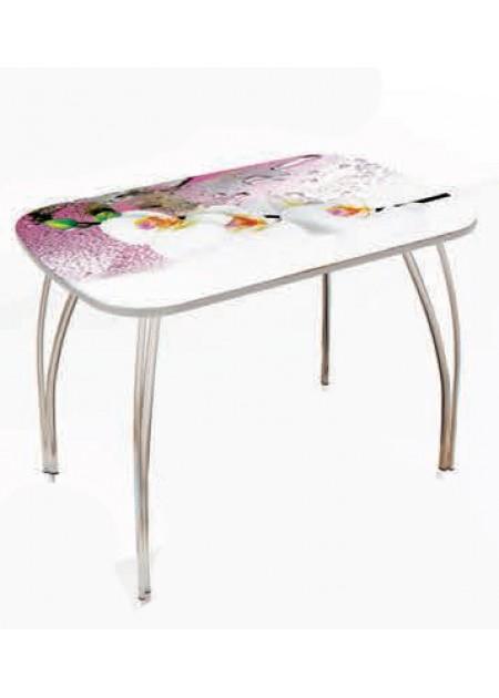 Обеденный стол «Лотос»  стекло орхидеи / венге