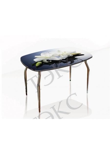 Обеденный стол «Кармен»  стекло лилии / венге