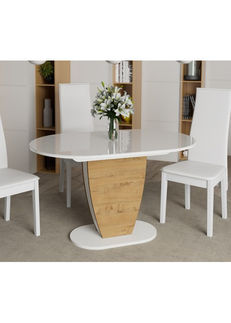 Стол обеденный Монреаль Тип-1 Белый глянец/бунратти